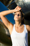 Tired fitness athlete sweating Royalty Free Stock Photos