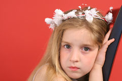 Tired flower girl Royalty Free Stock Image
