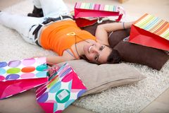 Tired fron shopping Royalty Free Stock Photography