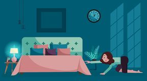 Tired girl crawls to bed at night. Evening bedroom interior in deep blue tones with moonlight on wall.Young woman goes to sleep royalty free illustration