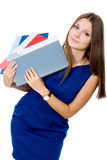 Tired girl with a folder for documents Royalty Free Stock Photo