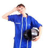 Tired girl with motorcycle equipment Stock Photos