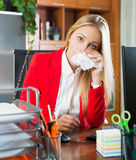 Tired girl in office Stock Images