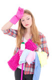 Tired girl with pink mop Royalty Free Stock Photos