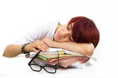 Tired girl sleep on work study. Books Royalty Free Stock Images