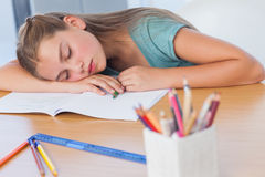 Tired girl sleeping Royalty Free Stock Photos
