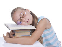 Tired girl slept Stock Images