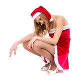 Tired girl wearing santa claus clothes Stock Photography