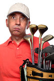 Tired golfer next to his bag Stock Images