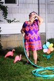 Tired granny doing yard work Royalty Free Stock Image