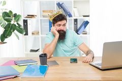 Tired of greatness. Head of department. Man bearded manager businessman entrepreneur wear golden crown. Top manager head stock photos