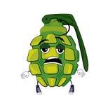 Tired grenade cartoon. Vector illustration of tired grenade cartoon Stock Photos