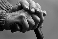 Tired Hands. Hands of a senior citizen Royalty Free Stock Photos