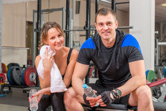 Tired and happy people after a workout Royalty Free Stock Photography