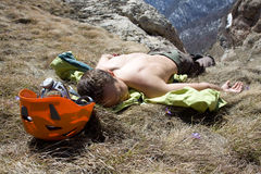 Tired hiker. Stock Image