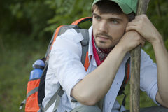 Tired hiker Royalty Free Stock Image