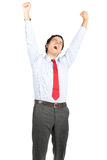 Tired Hispanic Office Worker Yawning Stretching Stock Photography