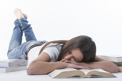 Tired of homework studying Royalty Free Stock Images