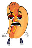 Tired hotdog cartoon Royalty Free Stock Photo