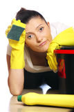 Tired housewife Royalty Free Stock Photos
