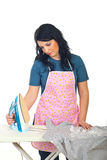 Tired housewife ironing Stock Photography