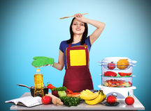 Tired housewife Stock Image