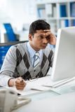 Tired Indian programmer Royalty Free Stock Images