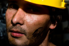 Tired industrial worker Royalty Free Stock Images