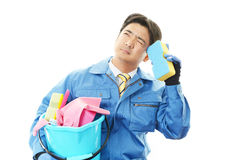 Tired Janitorial cleaning service Stock Photography