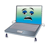 Tired laptop cartoon Stock Image