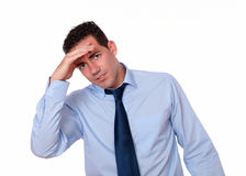 Tired latin guy with head pain Stock Photography