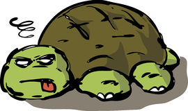 Tired lazy turtle illustration. Tired, lazy, exhausted, old, unconscious turtle collapsed on ground, illustration Royalty Free Stock Photography