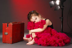 Tired little actress. On the stage Stock Photography