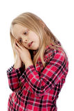 Tired little girl wants to sleep Stock Photos