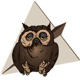 Vector tired owl against a background of a paper plane vector illustration