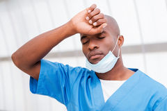 Tired after long surgery. Stock Photo