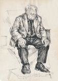 Tired man. Hand drawing picture, pen and ink, tired sleeping man Royalty Free Stock Image
