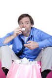 Tired man in forties having a tea party Royalty Free Stock Photos