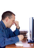 Tired computer guy Royalty Free Stock Photo