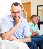 Tired man and frustrated teenager Royalty Free Stock Images