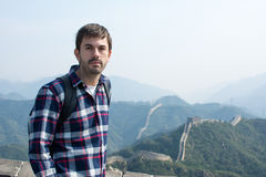 Tired man at the Great wall of China Stock Photos