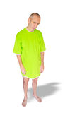 Tired Man in Green Nightdress Stock Images