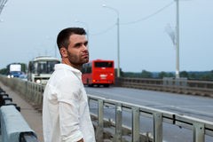 Tired man look at street outdoor portrait Royalty Free Stock Image