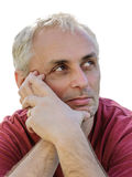 Tired man sad looking up thinking copy space portrait Royalty Free Stock Photography