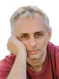 Tired man sleep deprivation eyes gray hair Royalty Free Stock Photo