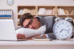 The tired man sleeping at home having too much work. Tired man sleeping at home having too much work Royalty Free Stock Photo