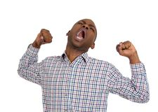 Tired man stretching arms Royalty Free Stock Photos