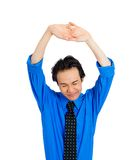Tired man stretching Royalty Free Stock Photo