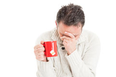 Tired man suffering of flu virus Stock Photos