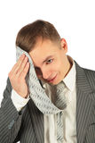 Tired Man with tie on a white Royalty Free Stock Photography